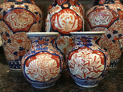 PAIR PETITE Antique Imari Porcelain Baluster Vase Japanese Ceramic Red Blue