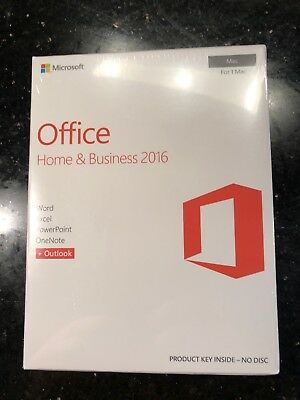 New Microsoft Office Home and Business 2016 1 MAC W6F-01022 Sealed Box New