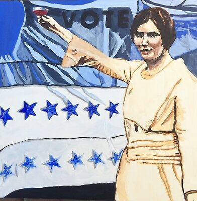 Original Painting Retro Women Vote Blue Wave Alice Paul