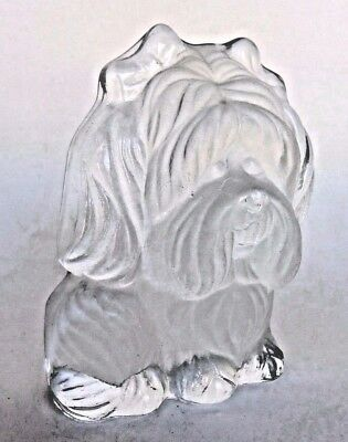 Frosted & Clear Glass Lhasa Apso Hand Made Dog Figurine By Viking