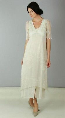 Victorian Trading Co Nataya Ivory Layered Gown Tea Party Dress MD 13D