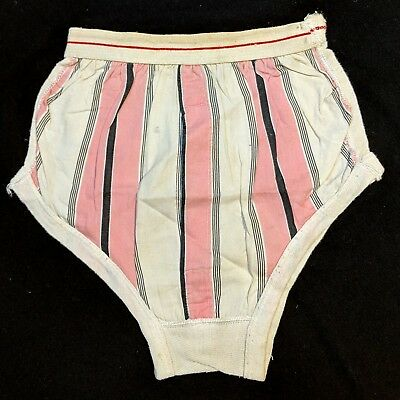 Vintage 1940s Pink Striped Novelty Print Briefs Underwear
