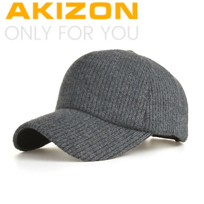 AKIZON Winter Knitting  Baseball Cap Unisex Thick Warm Snapback HAT for Man
