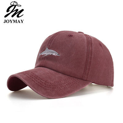 Joymay Cotton Washed Vintage Fitted Baseball Cap Original Shark Embroidery