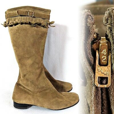 Vintage 1960s 1970s Suede Fringed zip up Womens Boots