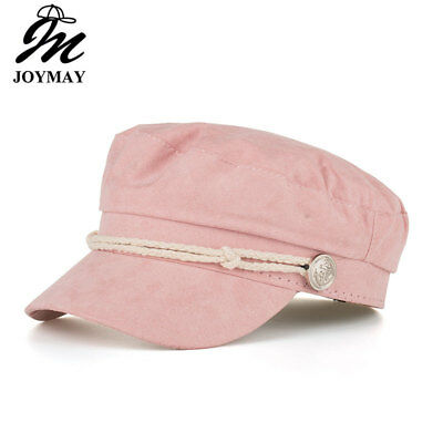 AKIZON Military Hat Caps Beret Winter Hats For Women Men Pu Leather Brim Wool