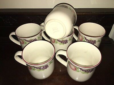 Boots Orchard Pottery 6 x matching mugs Earlier Style