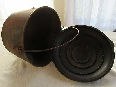 Cast Iron KETTLE-CAULDRON, Beautiful Lid, not matched- Great rusty Hearth Piece