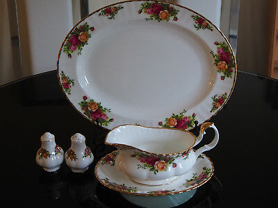 "Royal Albert ""Old Country Roses"" Serving Plate Gravy Boat & More - 1st Quality"