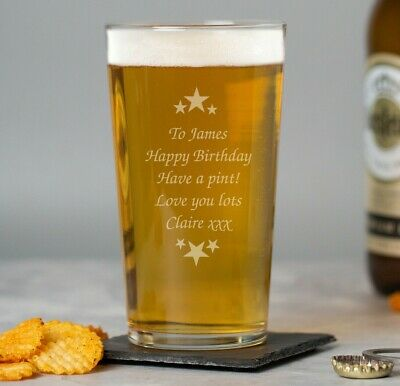 Personalised Stars Pint Beer Glass For Him Birthday Gifts 18th 21st 30th 40th