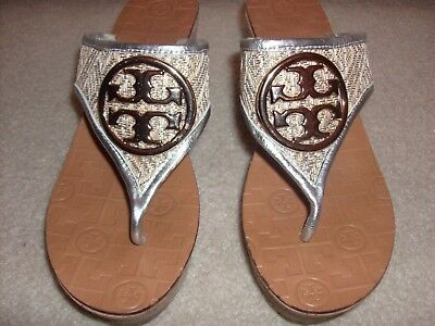ad3b08e12f9 TORY BURCH Leather Gold Silver Monogram Cork Wedge Slide Shoes SZ 11
