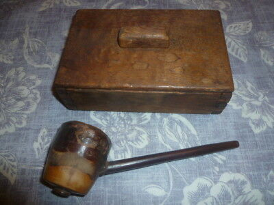 Hand-Made Wooden Box And Pipe - Antique Treen