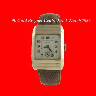 Rare 9K Gold Breguet Mens Deco Vintage Watch 1932