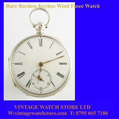 Mint Silver Keyless Fusee Burdess Patent Watch 1870