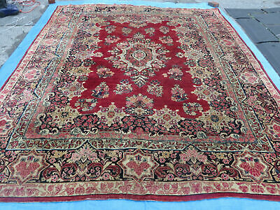 9' X 12' Antique  Fine Hand Made Persian Red Sarouk Wool Rug Carpet