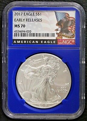 2017 $1 Blue Core Early Releases NGC MS 70 1 oz Silver American Eagle One Dollar