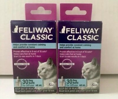 LOT OF 2 Comfort Zone Feliway CLASSIC Diffuser Refill *NEW *FREE SHIP!