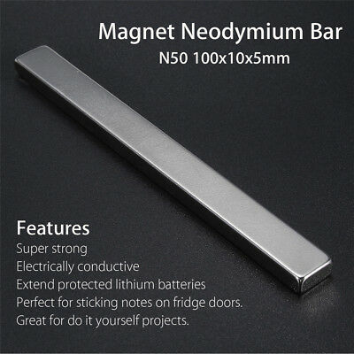 1PC Super Strong Magnets Bar Block Rare-Earth Neodymium 100x10x5mm N50 NdFeB