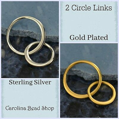Jewelry Findings Two Circle Links 19mm - Sterling Silver or Gold Plated