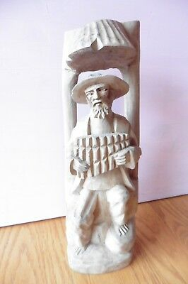 Hand Carved Wood Man Playing the Accordion wooden sculpture statue vintage
