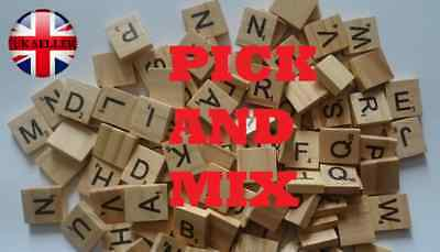*Pick and Mix* Wooden Scrabble Tiles Choose your own Scrabble Letters UK Seller