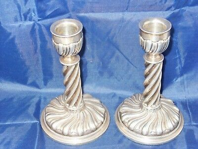 PAIR OF VICTORIAN BALLY TWIST SILVER CANDLE STICKS IN GOOD CONDITION, c1892