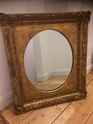 Large Antique Victorian Gilt  Gold Mirror Oval  Square