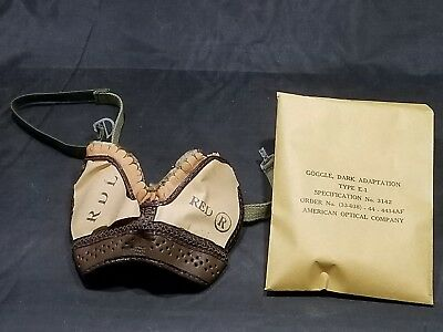 WWII US Army Airborne Dark Adaptation Goggles Type E-1 Dated 1944 NOS