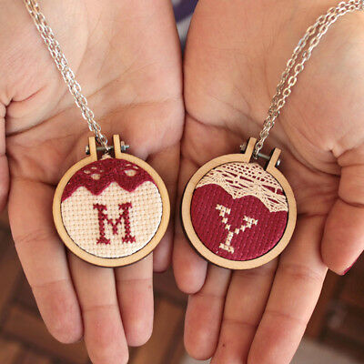 1Pc Exquisite Wooden Cross Stitch BAixed BArame Round Hanging Women Jewelry HM