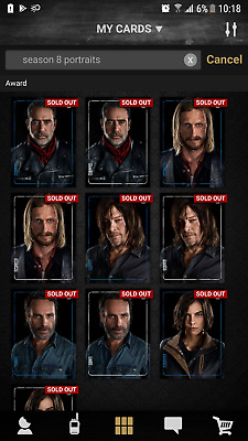 Topps The Walking Dead Card Trader - S8 Portraits Blue & White Complete DIGITAL