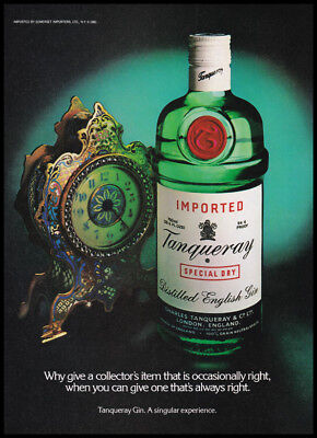 Tanqueray dry gin print ad 1981 antique clock, bottle