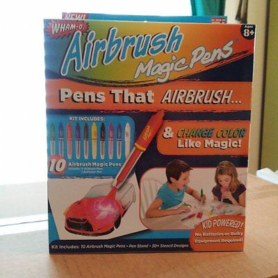 Wham'o AIRBRUSH MAGIC PENS - AS SEEN ON TV  COLOR CHANGING - 30 STENCIL DESIGNS