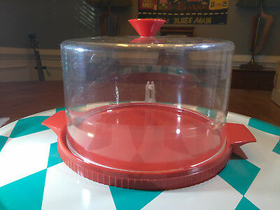 Darling Vintage 1950's Tri- State Plastic Red Dome Cake Carrier - Saver