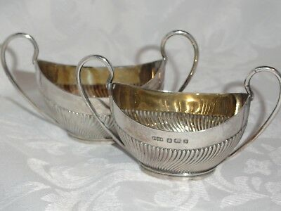 2 Vintage Sterling Silver Sauce Boat Dish Copper Brothers & Sons Sheffield 1957