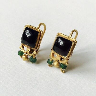 Pair Of Matching Roman Gold Earrings With Garnet & Green Glass Beads, Jewellery