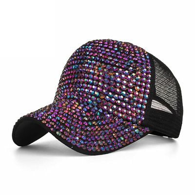 AKIZON 2018 NEW ARRIVAL Spring Summer season glitter wave mesh cap Woman