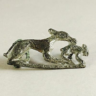 """RARE Ancient Roman Bronze """" Hare And Hound"""" Brooch C. 2nd Century A.D."""