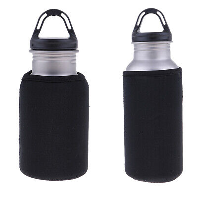 2pcs Titanium Drinking Water Bottle with Sleeve Bag Camping Hiking Cycling