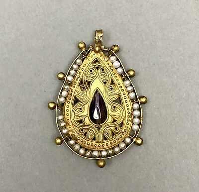 RARE Byzantine Exquisite & Elegant Gold Open Work Pendant With Pearl & Amethyst