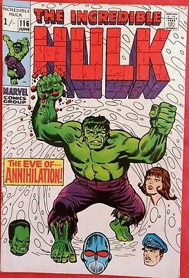 INCREDIBLE HULK 116 MARVEL SILVER AGE 1969 1st appearance of Super-Humanoid vf