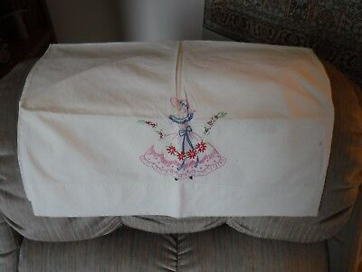 Lot of 4 Vintage Standard Size Pillow Cases Hand Embroidered and Crocheted