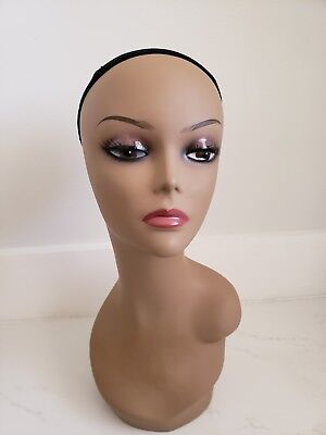 Realistic FiberGlass Display Female  Mannequin for Wigs Hats Mannequin Head 17''
