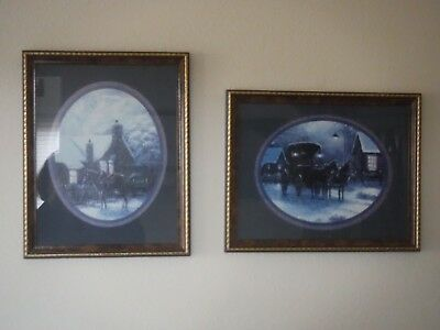 "Set of 2 Home Interiors Framed Pictures 12x15"" Blue Matting"