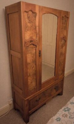 Beautiful Mirrored Walnut Edwardian / Victorian Antique Wardrobe
