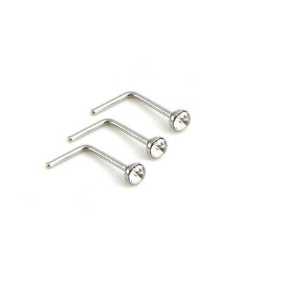 3x Nose Stud Surgical Steel 2.5mm Clear Gem L-Shape Pin Straight Piercing