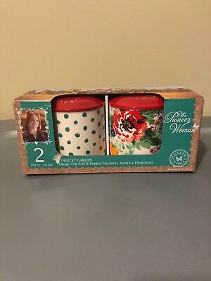 NEW! Pioneer Woman Salt & Pepper Shakers Set Country Garden Floral Polka Dots