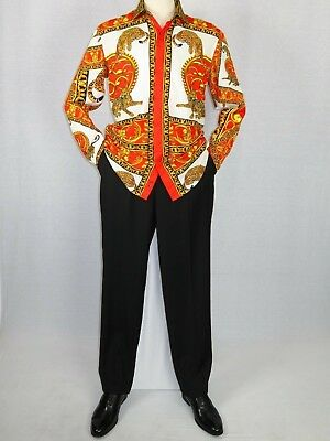 0cf1a025b6 MENS OSCAR BANKS Turkey Shirt Satin Roman Lion Medusa European 6552 Red  Gold New