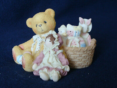 Cherished Teddies - Randy - Bear With Doll And Basket Of Toys Figurine - 476498