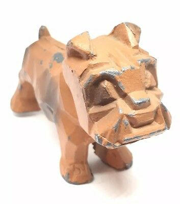 "Vtg Cold Painted Metal Bull Dog Figure 3.5x2.5"" Toy"