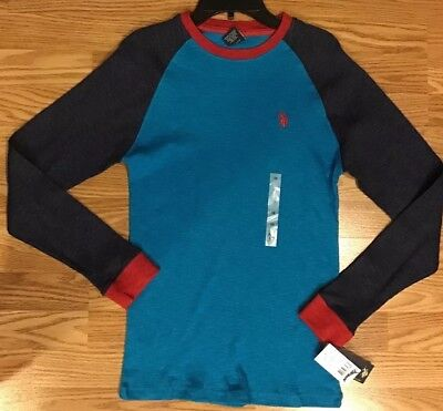 New Boys US Polo Assn Thermal Long Sleeve Blues Shirt Top Size 18 NWT MSRP $24